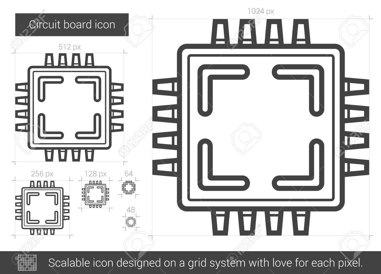 Circuit Board Vector Line Icon Isolated On White Background ...