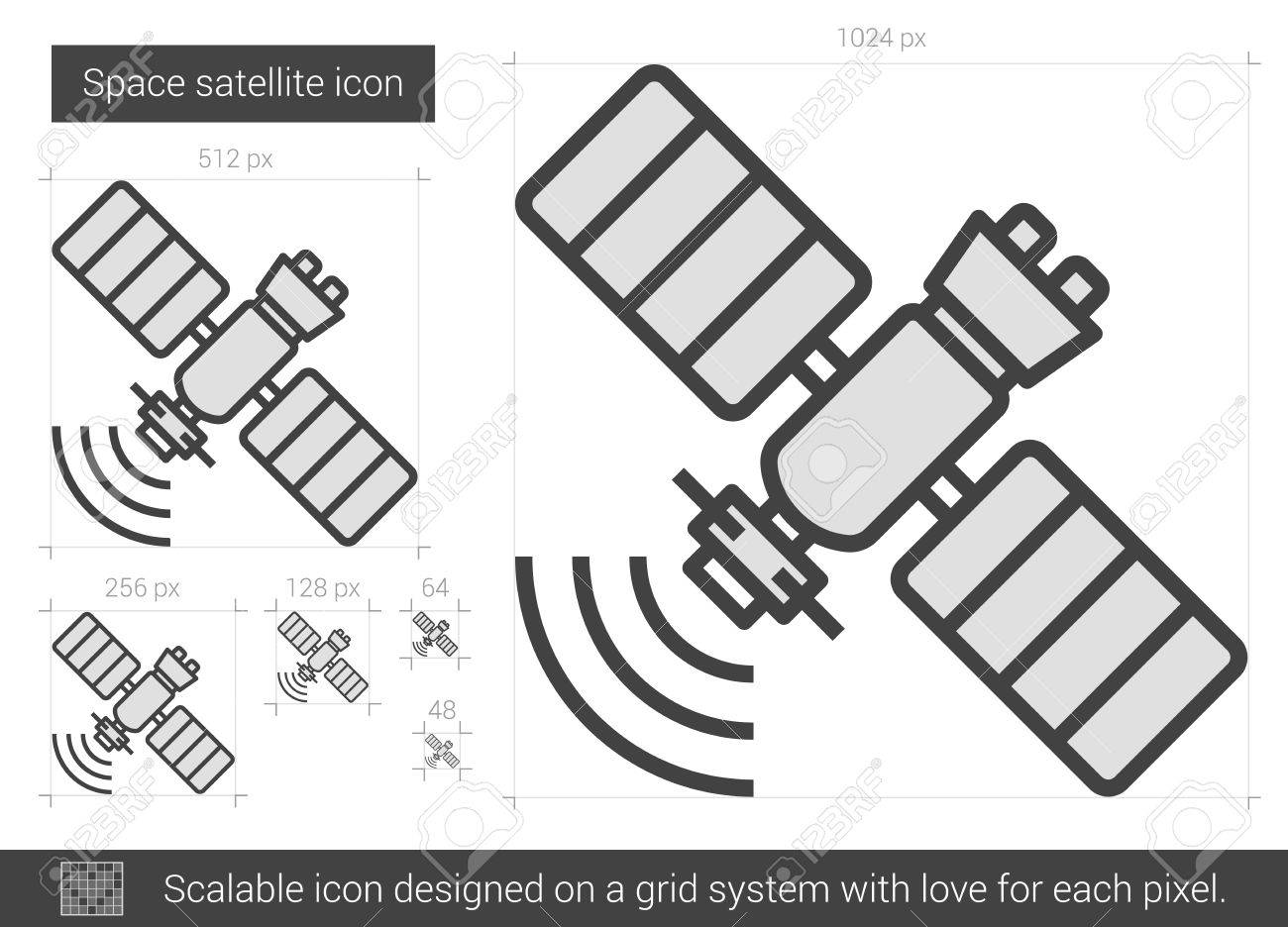 Space satellite vector line icon isolated on white background. Space satellite line icon for infographic, website or app. Scalable icon designed on a grid system. - 62437860