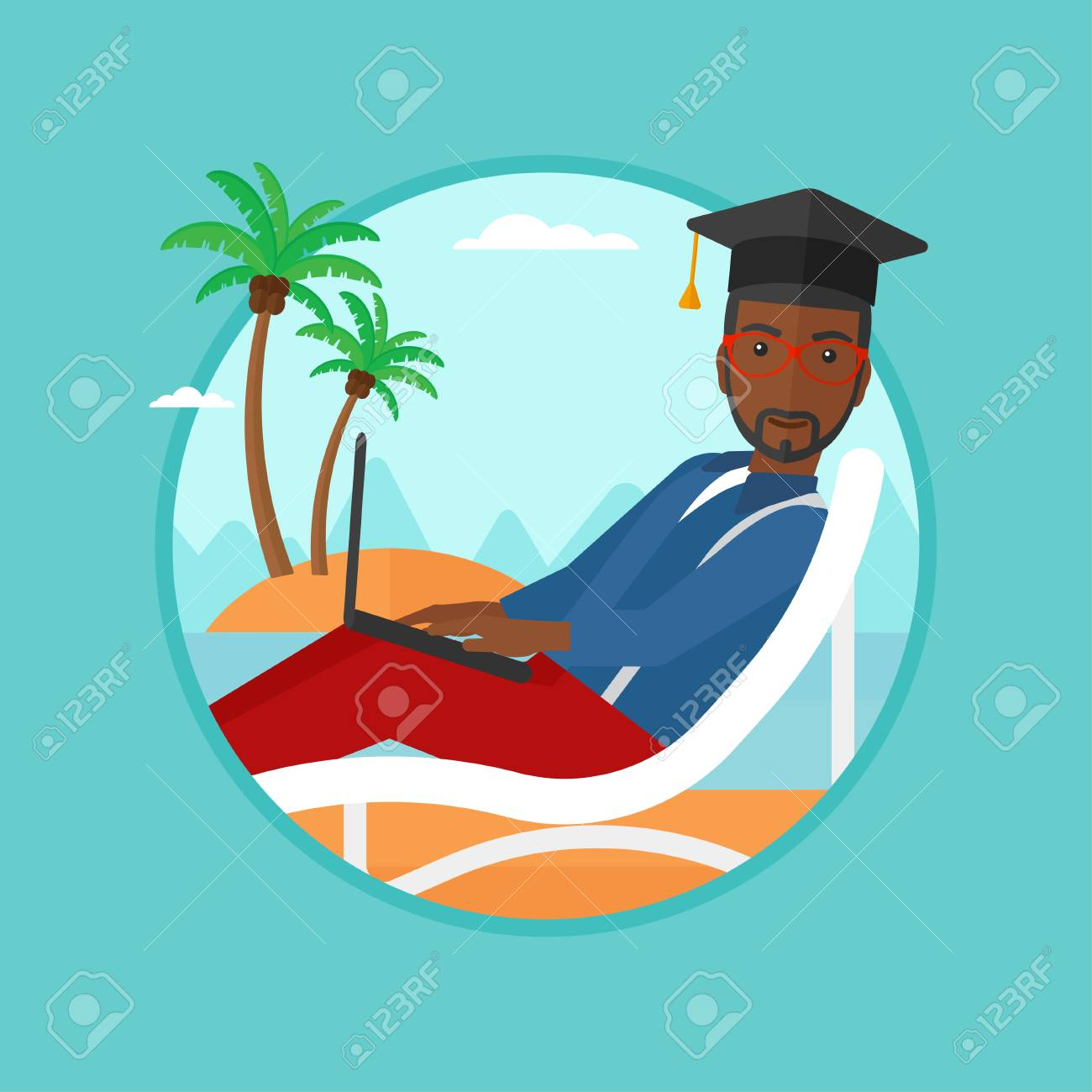 Diplômé Afro-américaine Couché Dans Chaise Longue. Diplômé En on chaise recliner chair, chaise sofa sleeper, chaise furniture,
