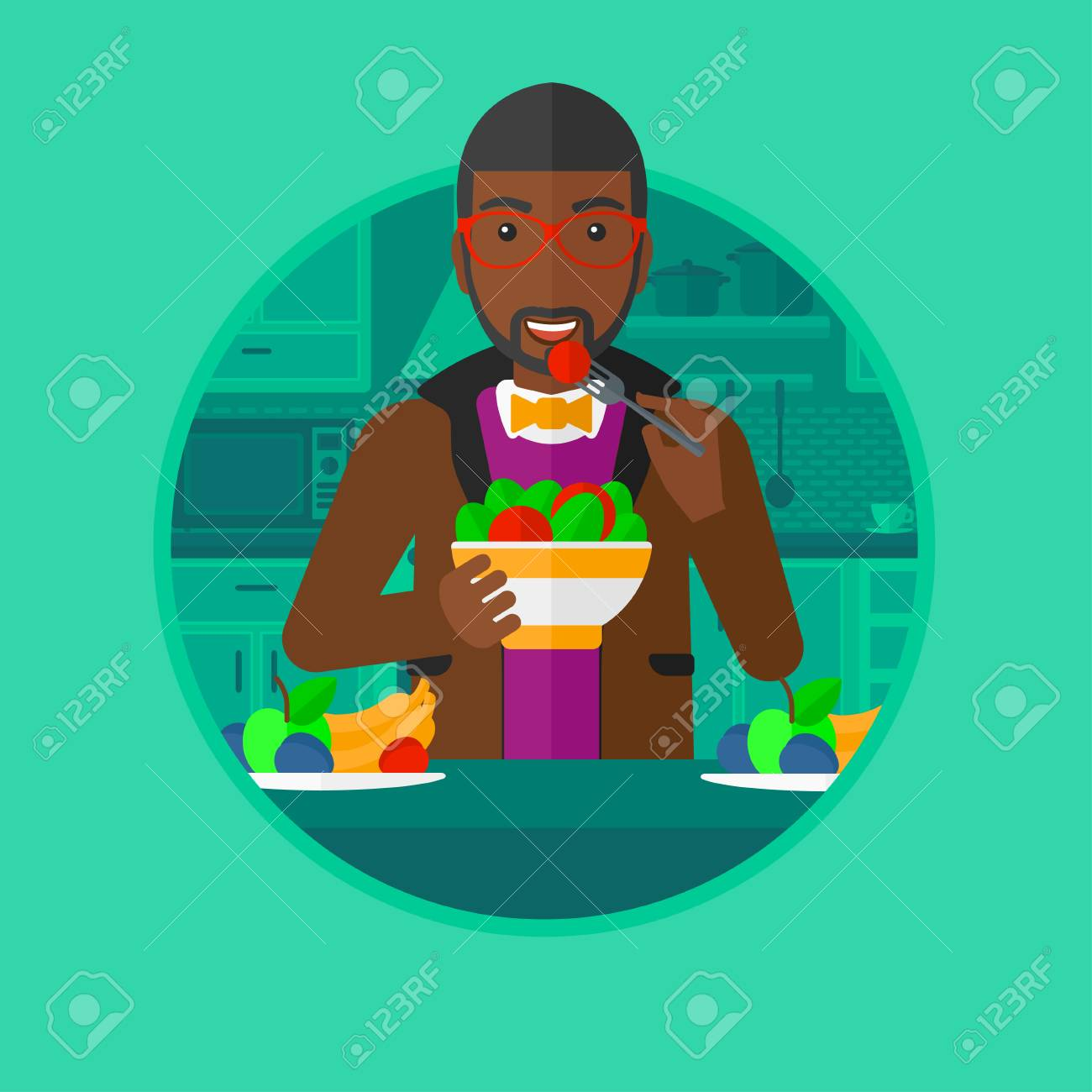 Ein Afroamerikanischer Junger Mann Essen Frisch Gesund Gemüsesalat ...