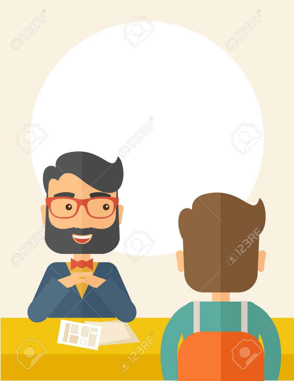 A Smiling Caucasian Human Resource Manager With Beard Interviewed