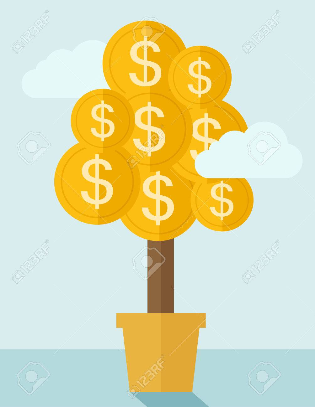 Pflanzenzucht Münze Mit Dollarzeichen. Ein Zeitgenössischer Stil Mit ...