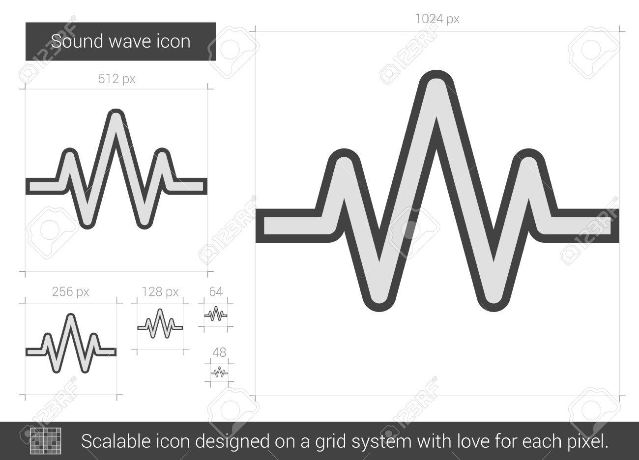 Sound wave vector line icon isolated on white background  Sound