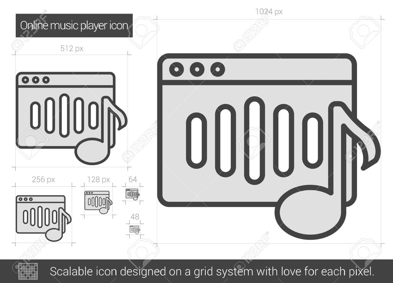 Online music player vector line icon isolated on white background