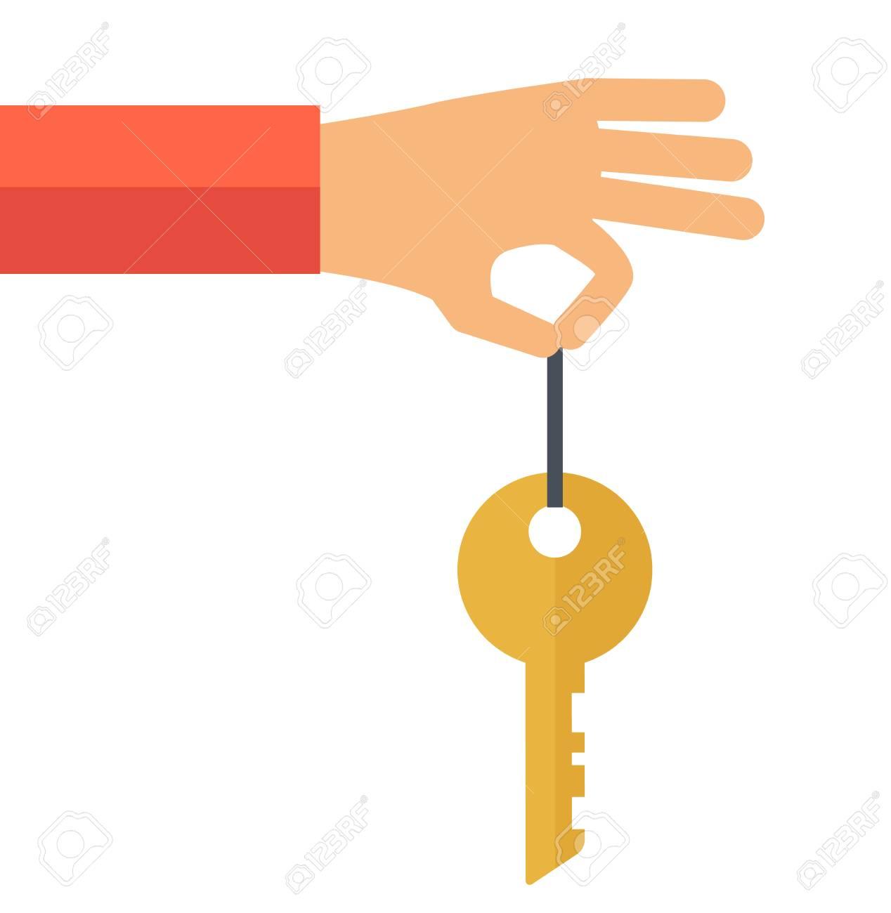 Eine Hand Hält Einen Schlüssel. Ein Zeitgenössischer Stil. Flache ...