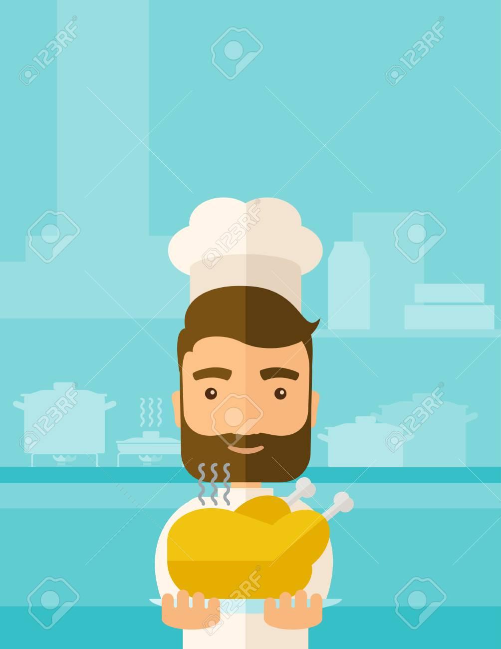 Ein Junger Koch Ein Leckeres Gekocht Truthahn Für Thanksgiving Fest ...