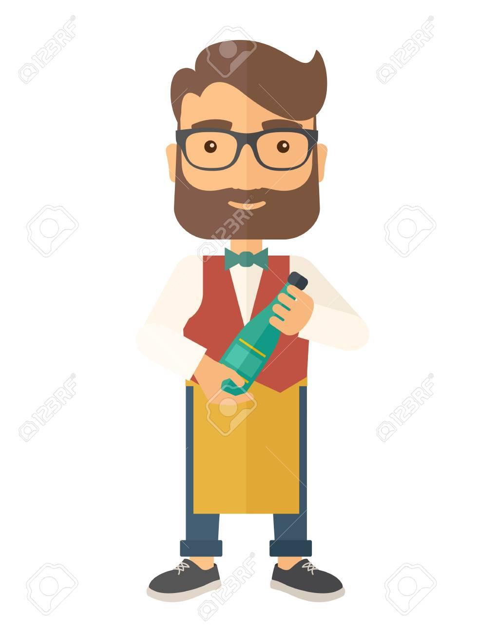 Ein Weinhersteller, Der Seine Schürze Trägt, Die Eine Flasche Wein ...