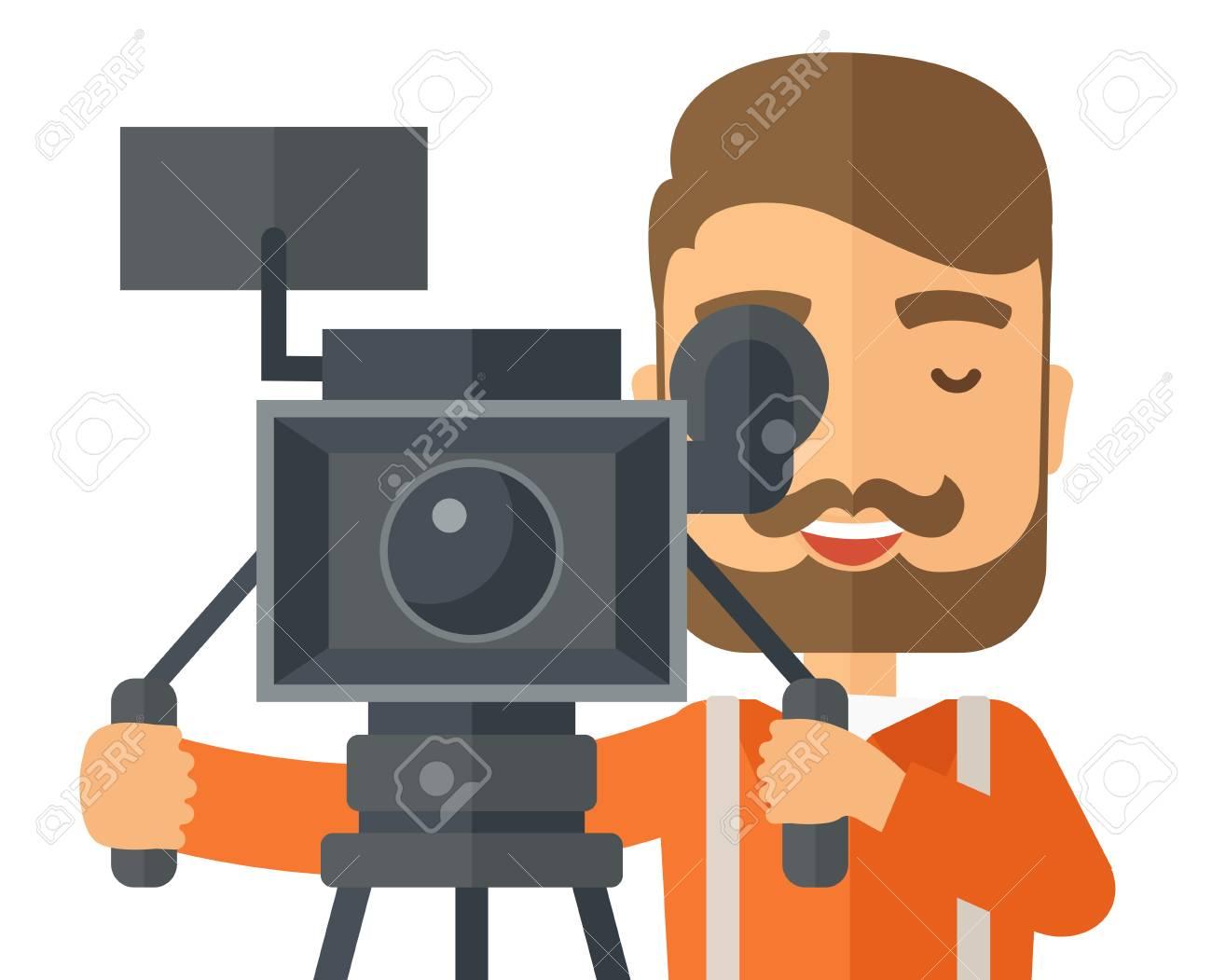 Ein Kaukasischen Videographer Close Up Ein Video Nehmen. Ein ...