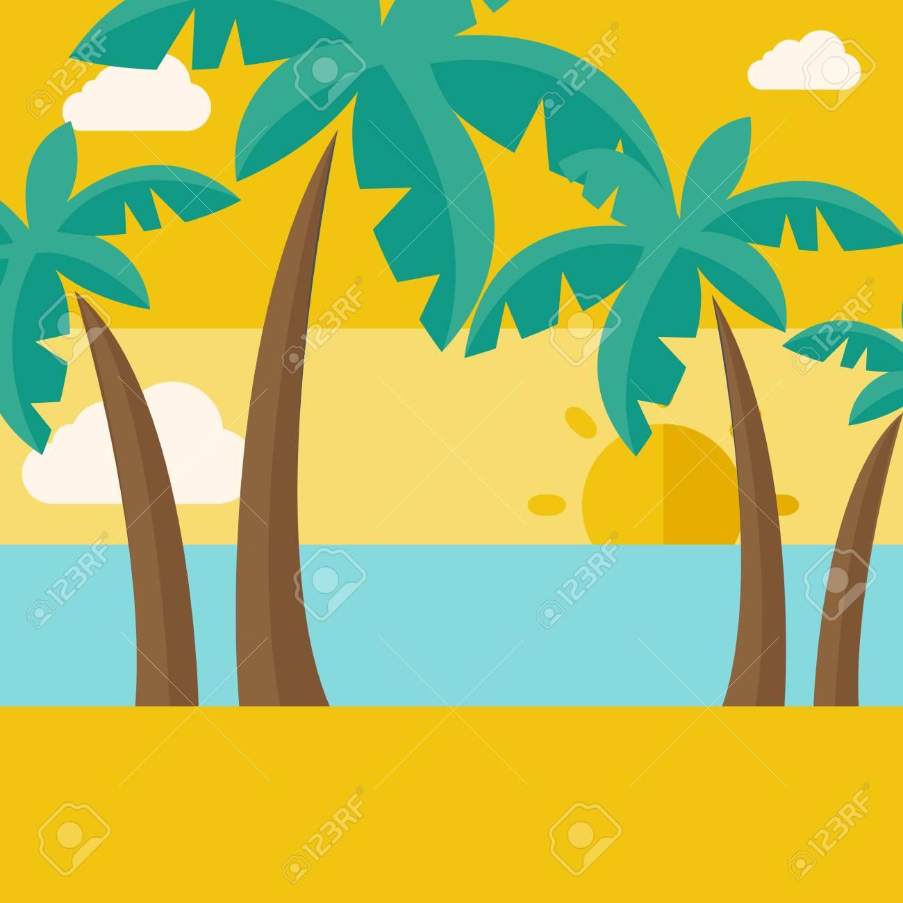 Ein Tropischer Strand Mit Wolke Und Sonnenuntergang. Ein ...