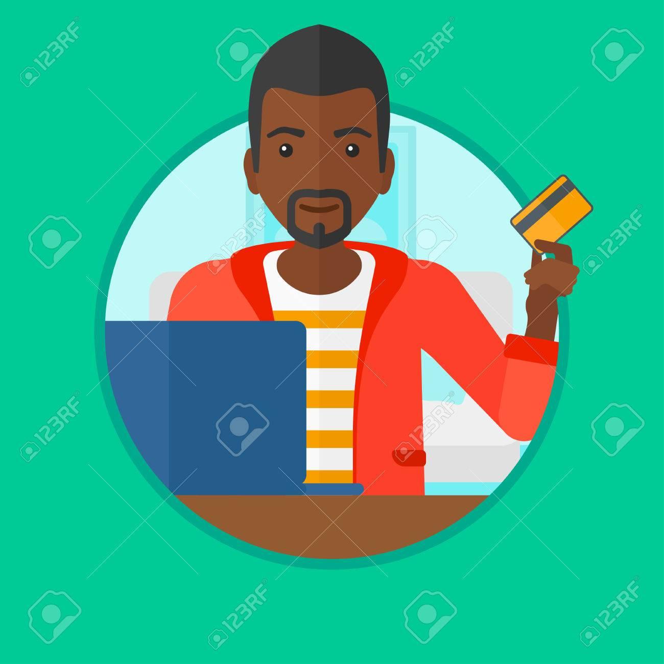 Ein Afrikanischer Mann Mit Einer Kreditkarte Und Mit Laptop Für ...