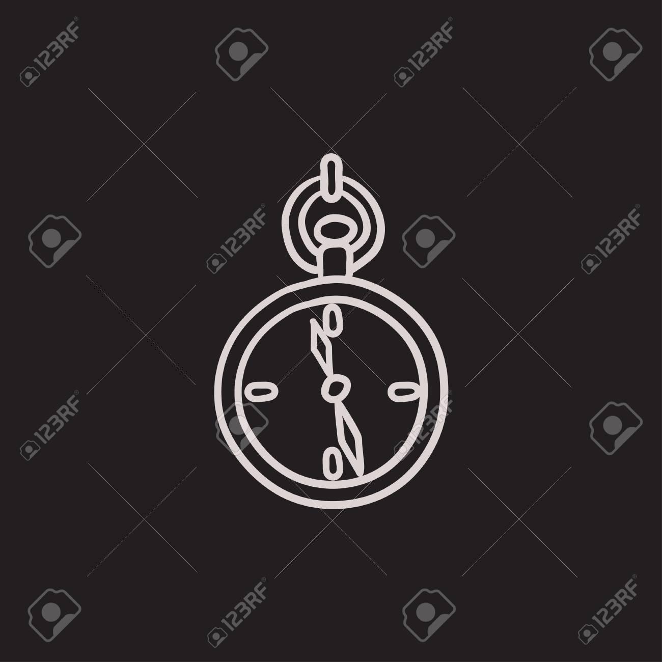 Dibujo Icono De Reloj De Bolsillo Para Web Móvil Y La Infografía Dibujado A Mano Icono De Reloj De Bolsillo Reloj De Bolsillo Del Icono Del Vector Icono De Reloj De Bolsillo