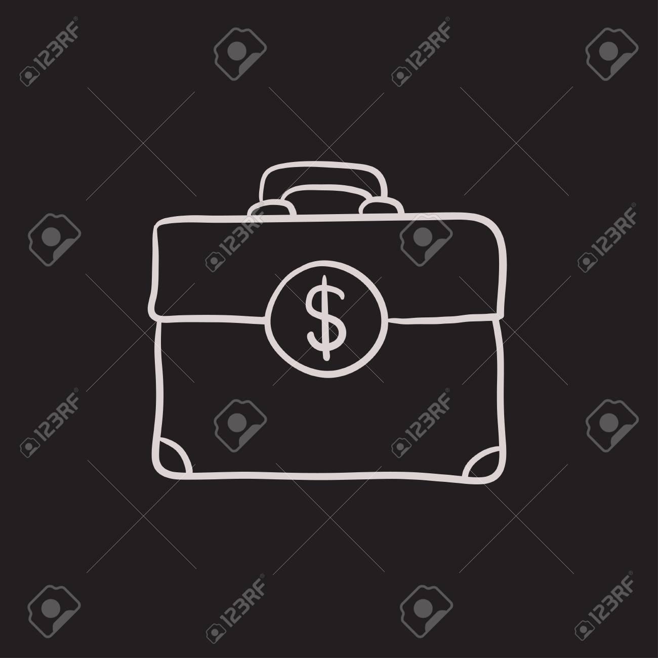 Mala Com O Icone De Desenho De Vetor De Simbolo De Dolar Isolado