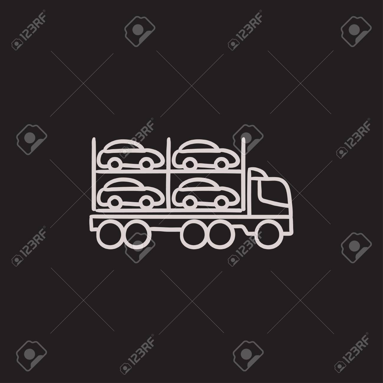 Car Carrier Vector Sketch Icon Isolated On Background. Hand Drawn ...