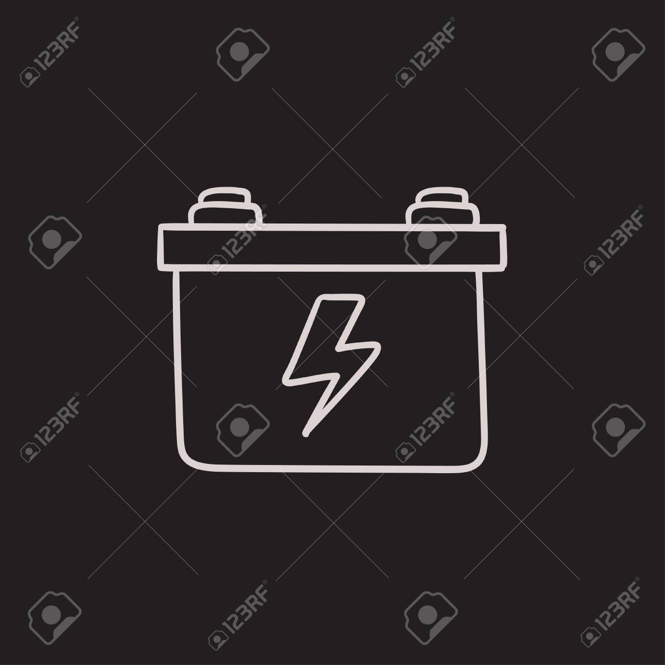 Car Battery Vector Sketch Icon Isolated On Background. Hand Drawn ...