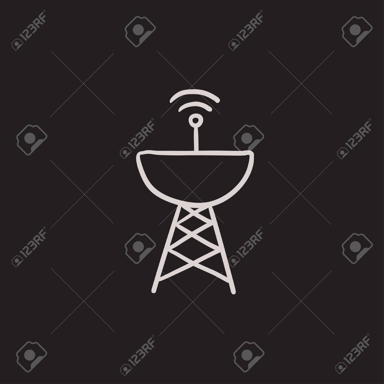 Radar satellite dish vector sketch icon isolated on background