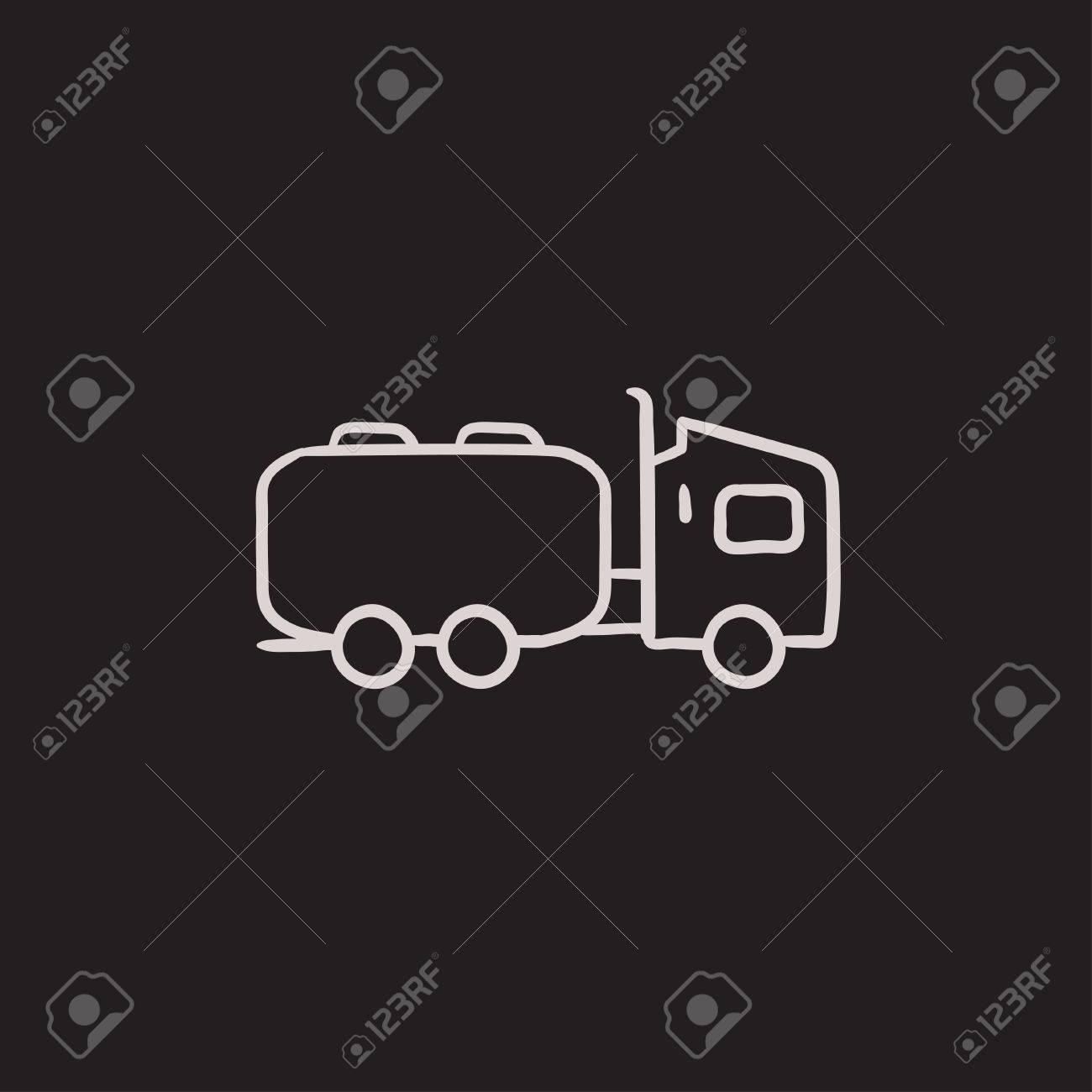 LKW Flüssige Ladung Vektor Skizze Symbol Auf Hintergrund Isoliert ...