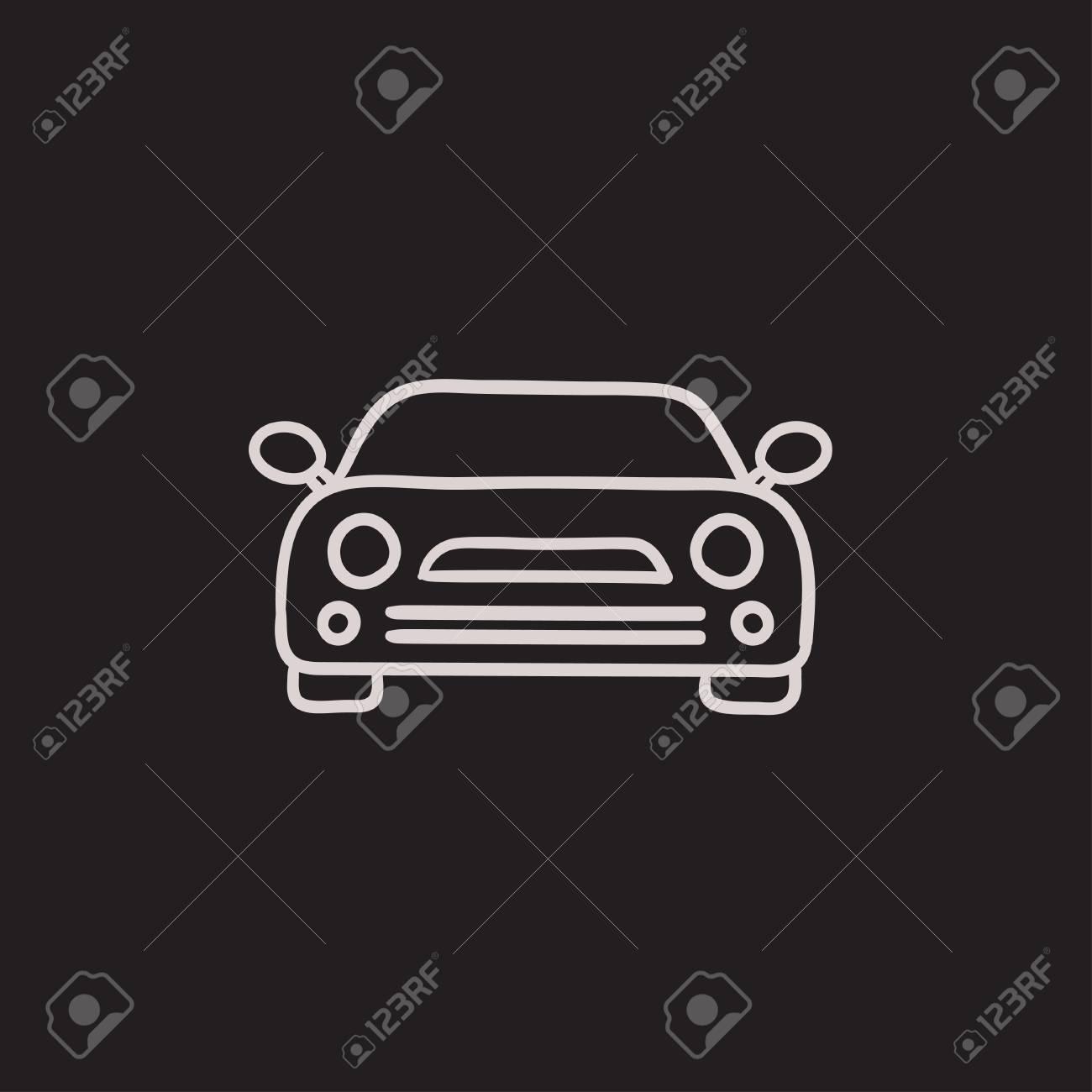 Auto-Vektor-Skizze-Symbol Auf Hintergrund Isoliert. Hand Gezeichnet ...