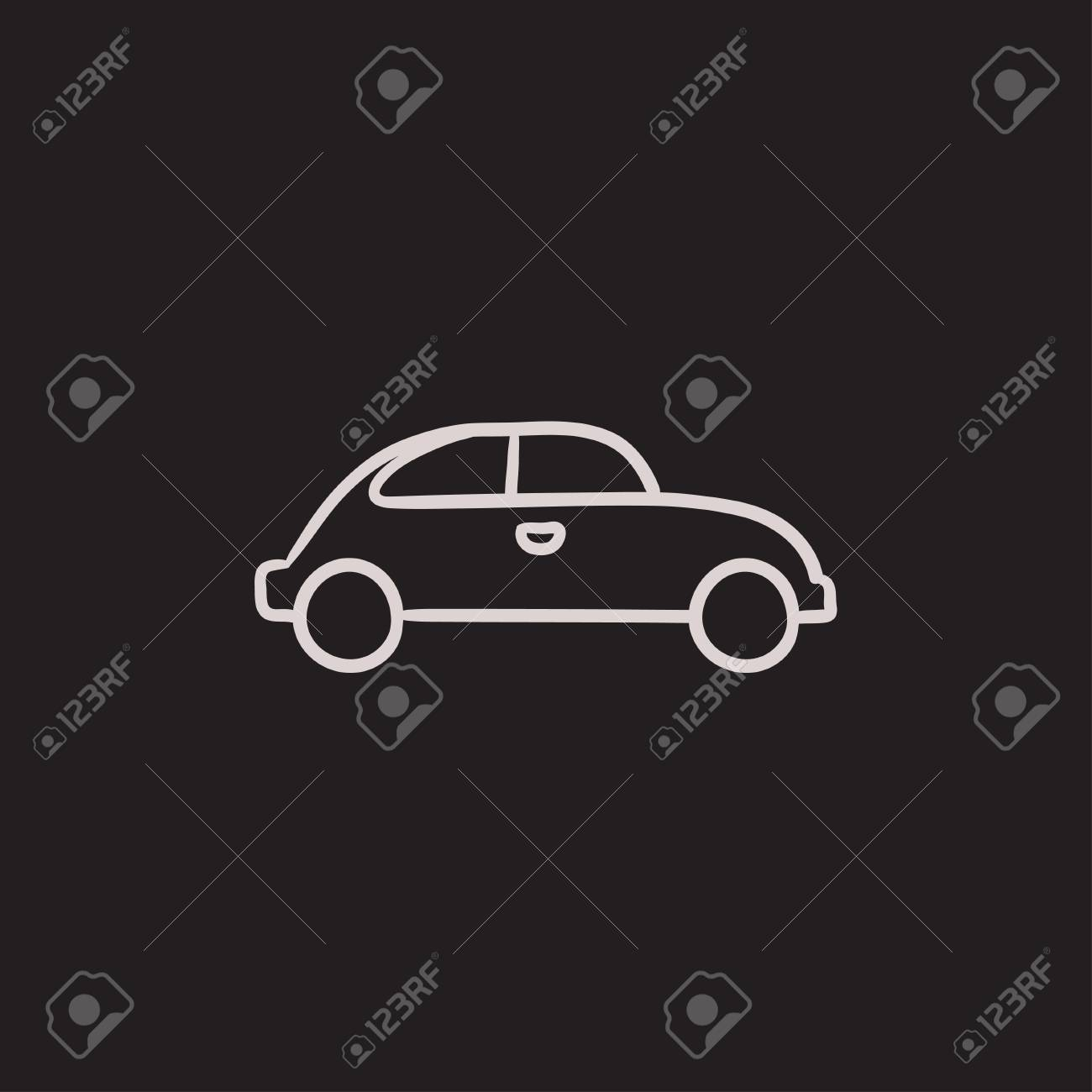 Car Vector Sketch Icon Isolated On Background. Hand Drawn Car ...