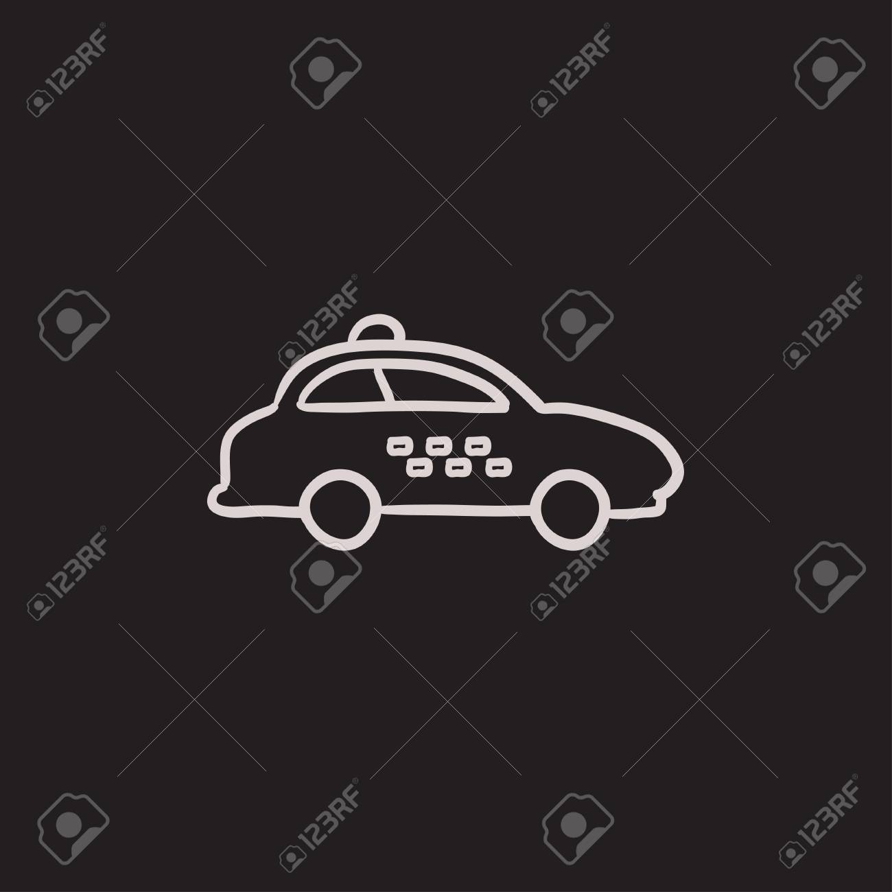 Taxi Car Vector Sketch Icon Isolated On Background. Hand Drawn ...
