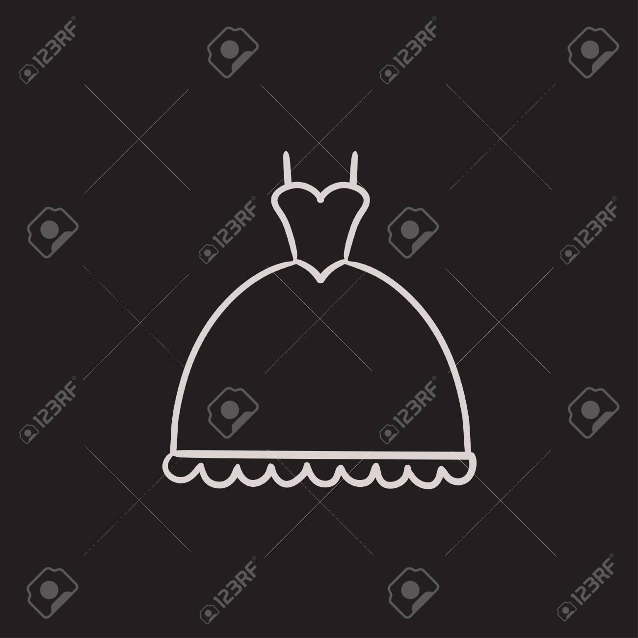 Vestido De Casamento ícone Esboço Do Vetor Isolado No Fundo Desenho ícone Do Vestido De Casamento ícone Do Esboço Do Vestido De Casamento Para