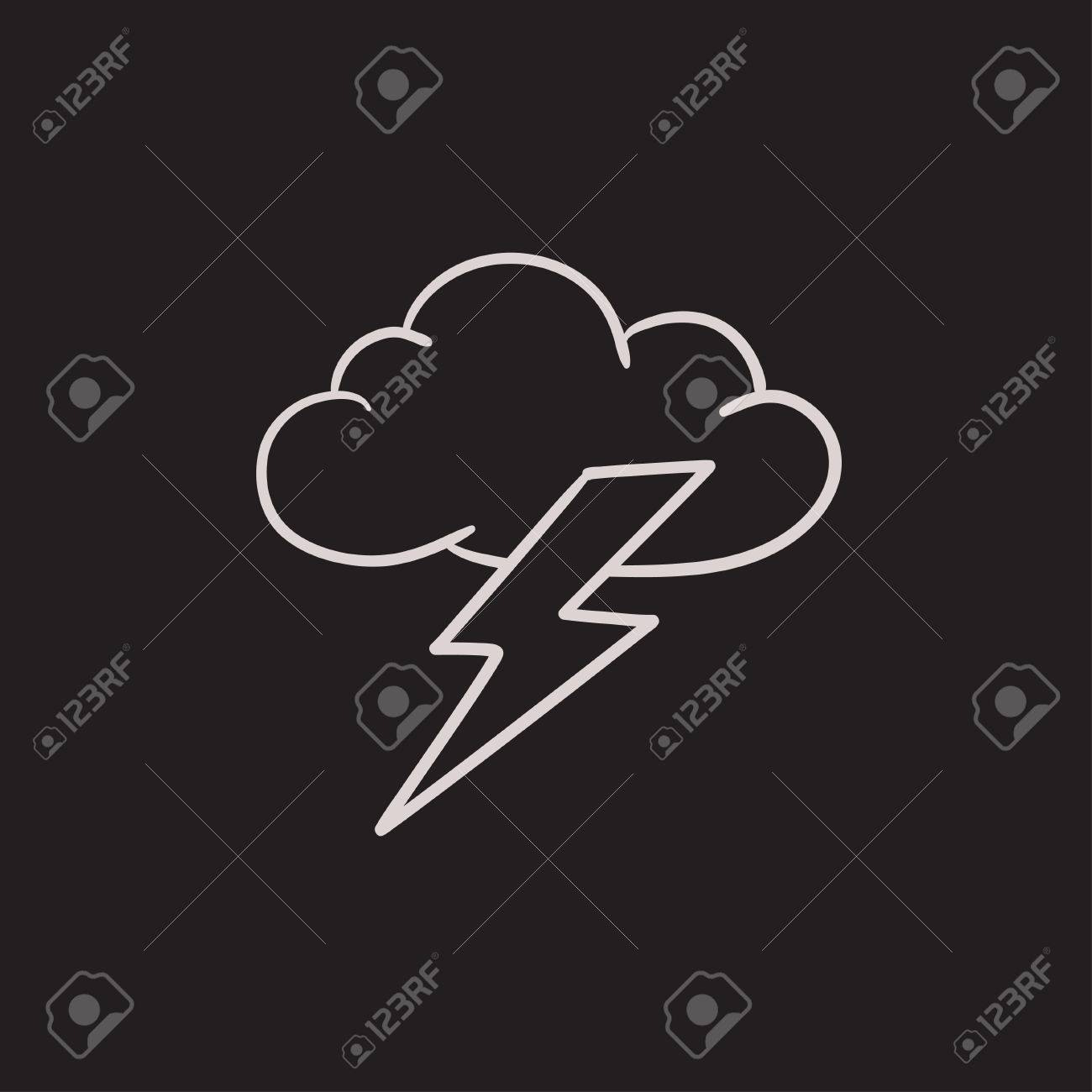 Cloud And Lightning Bolt Vector Sketch Icon Isolated On Background Royalty Free Cliparts Vectors And Stock Illustration Image 63810011