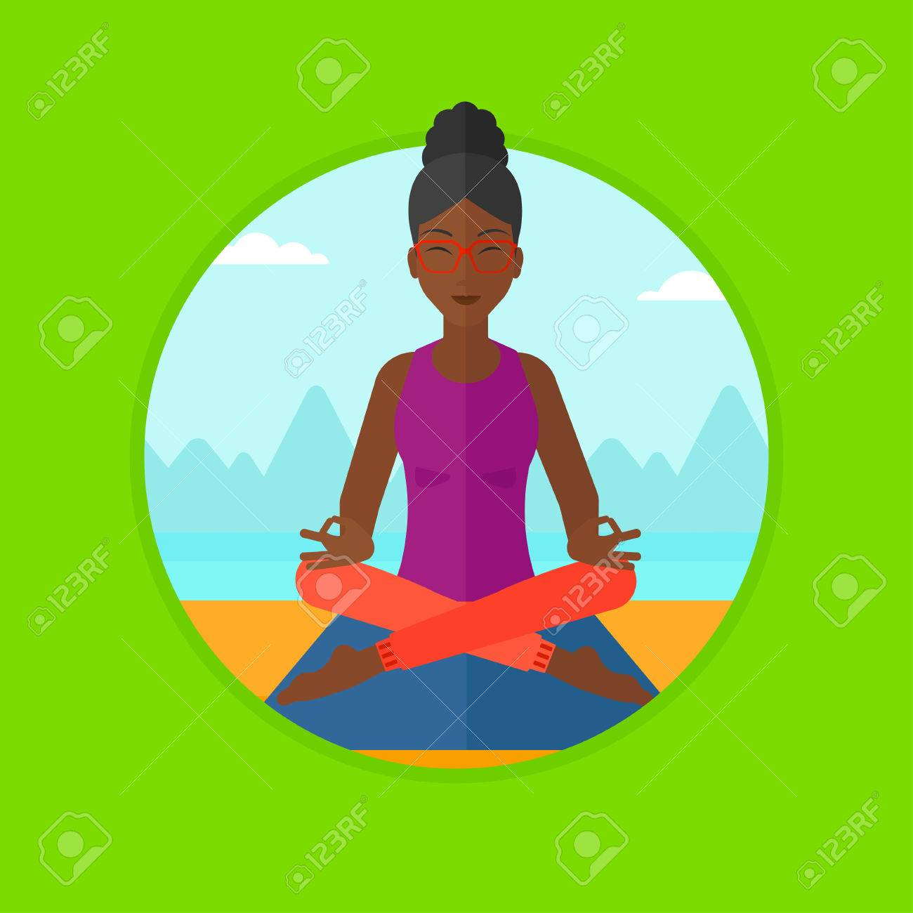 An African American Woman Meditating In Yoga Lotus Pose Relaxing The