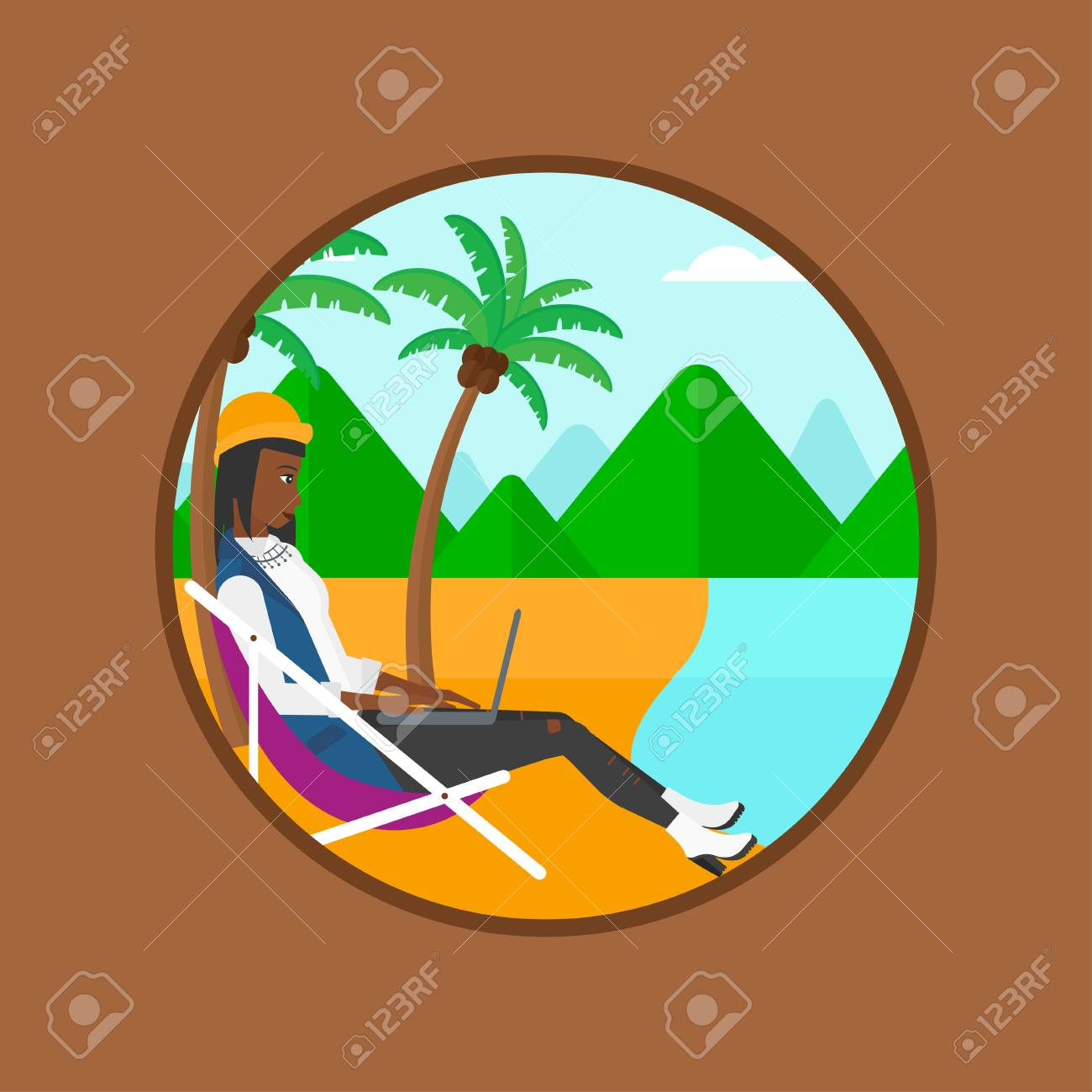 Une Femme D'affaires Afro-américaine is Dans Une Chaise Longue Et on chaise recliner chair, chaise sofa sleeper, chaise furniture,
