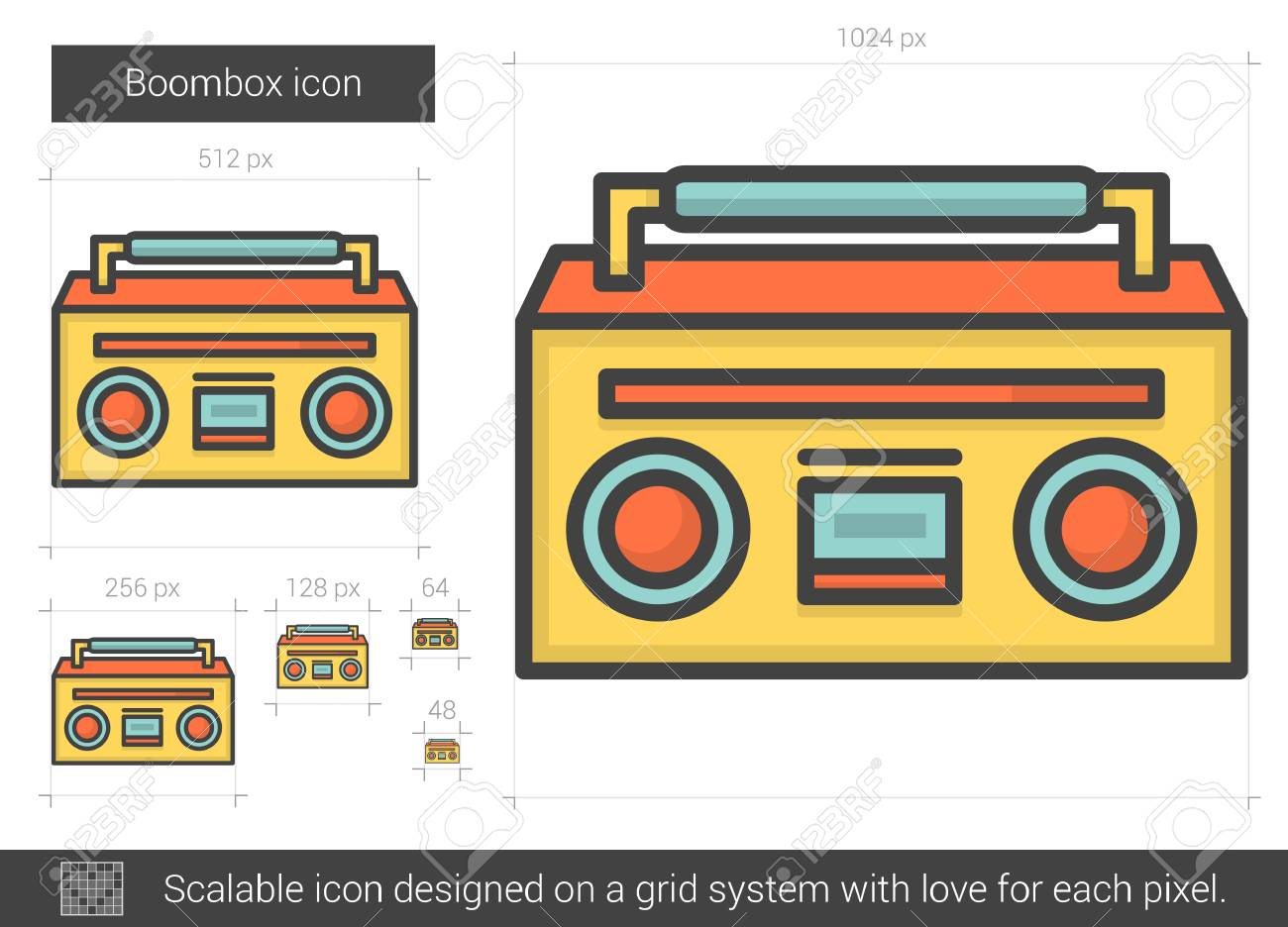 boombox vector line icon isolated on white background boombox rh 123rf com boombox vector png boombox vector free