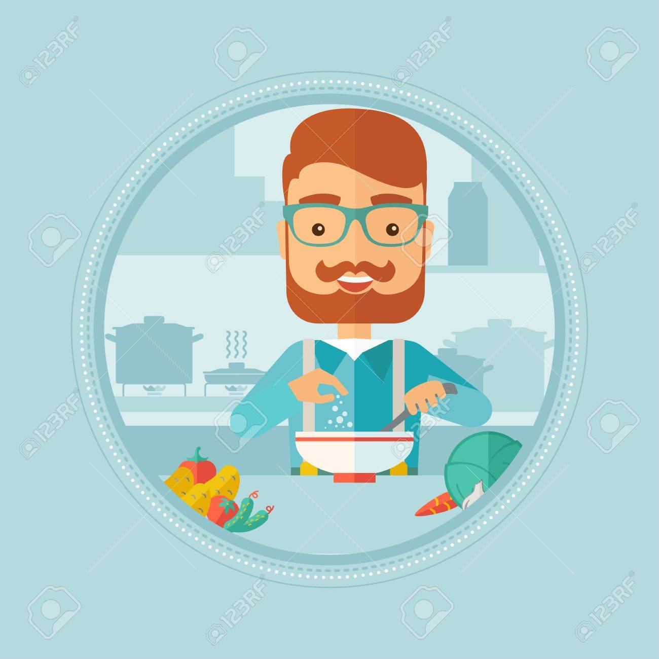 Caucasian Hipster Man With Beard Cooking Vegetable Salad In Kitchen ...