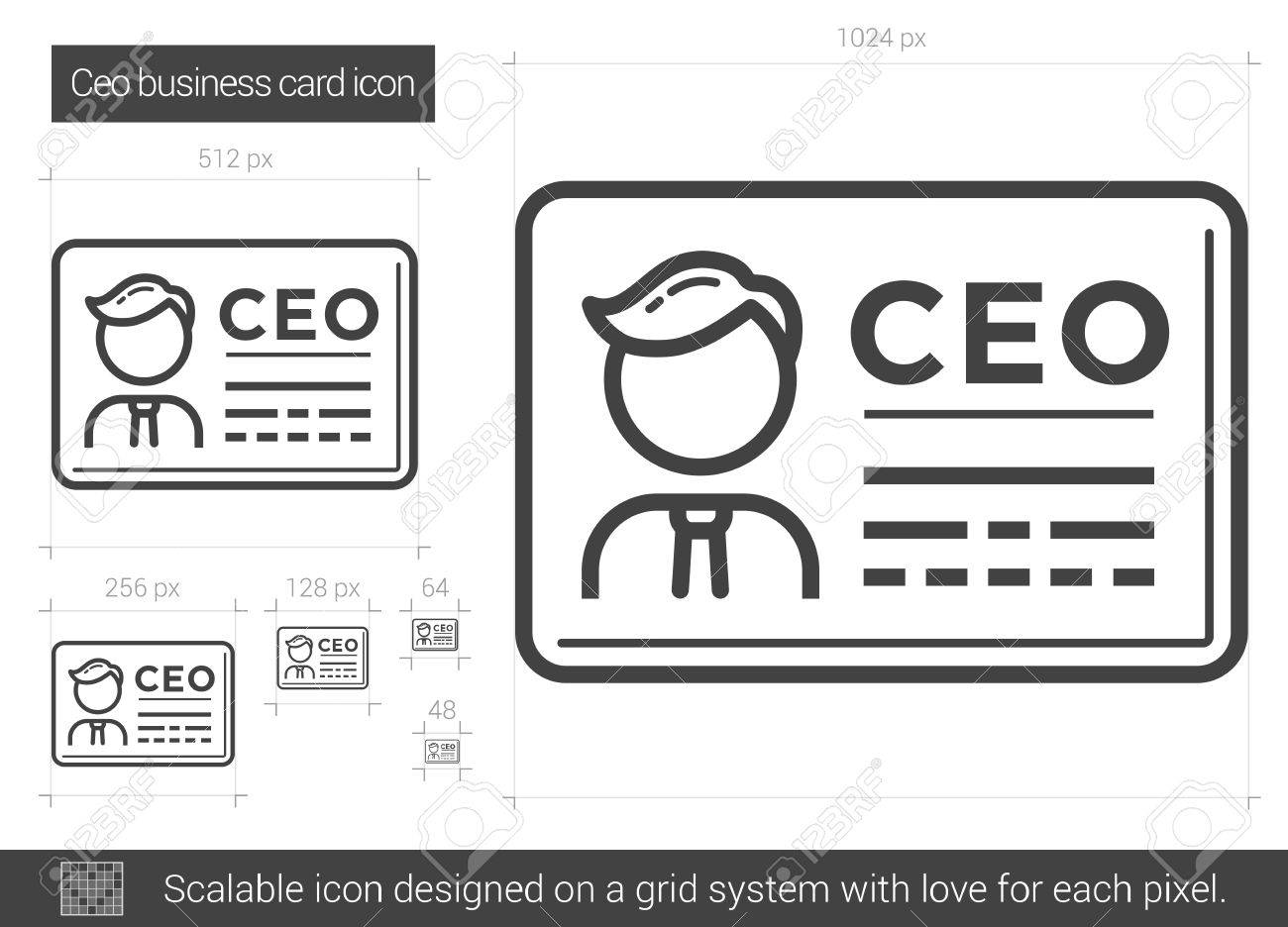 CEO Business Card Vector Line Icon Isolated On White Background ...