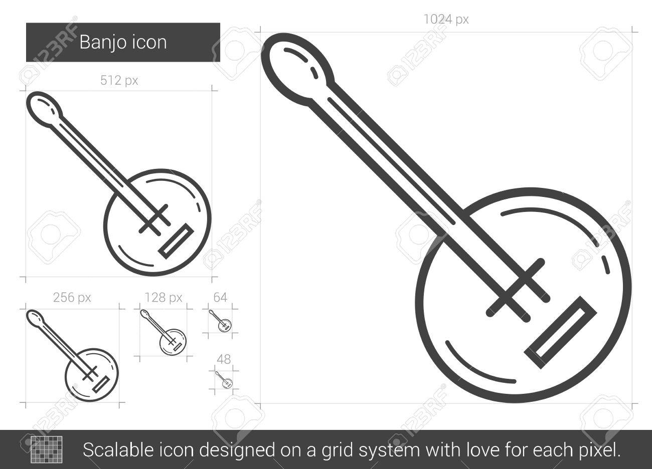 Banjo vector line icon isolated on white background. Banjo line icon for infographic, website or app. Scalable icon designed on a grid system. - 64202747
