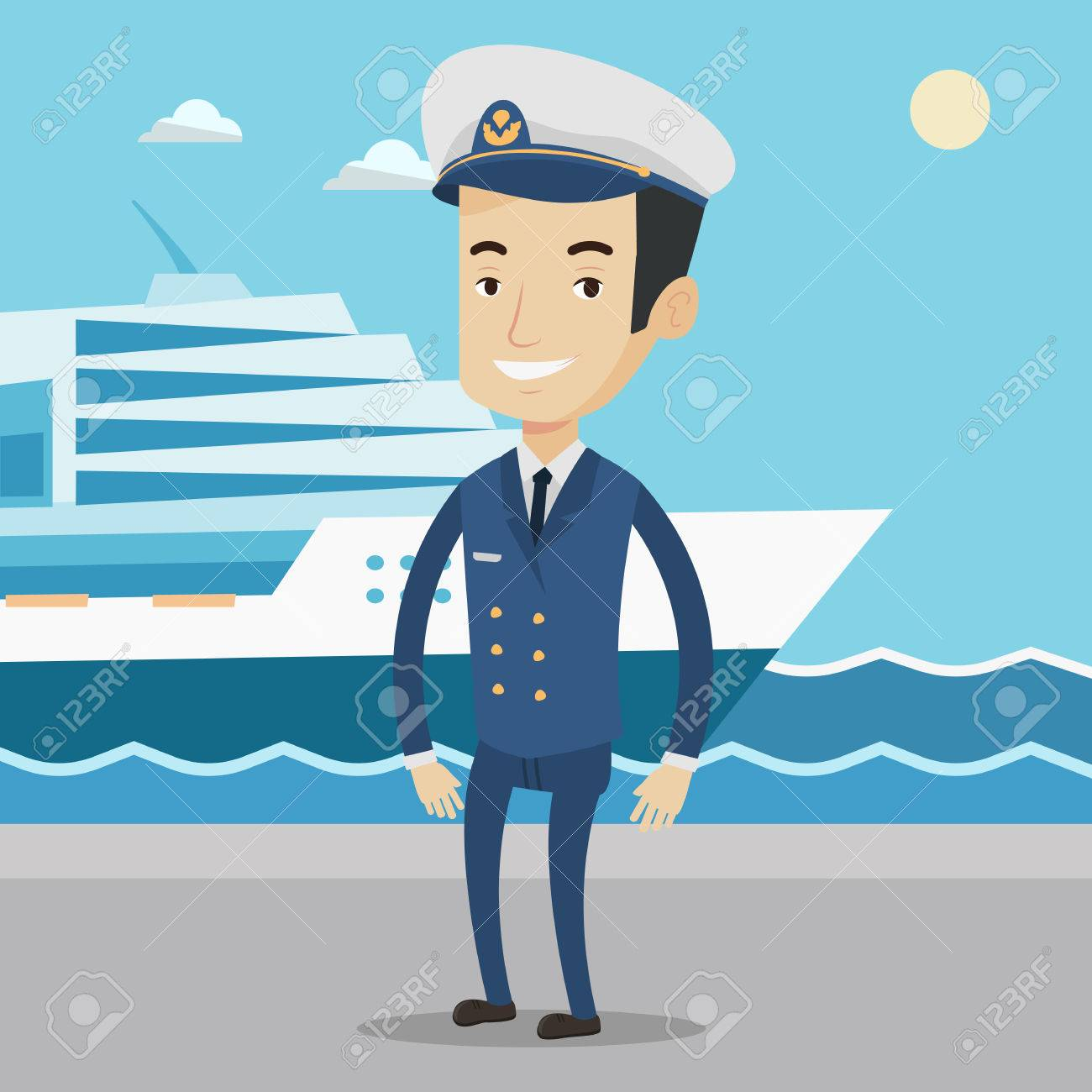Caucasian Captain On The Background Of Sea And Cruise Ship - Cruise ship captains