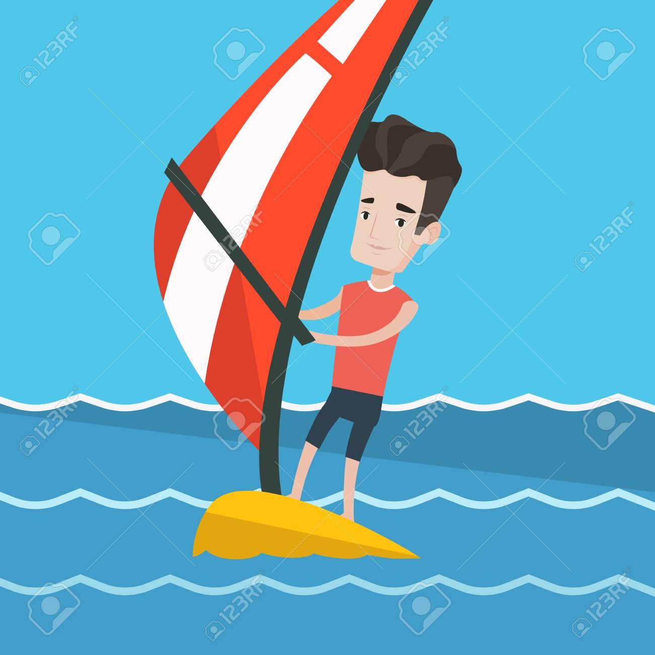 Man Planche A Voile Dans Un Beau Jour D Ete L Homme Debout Sur La Planche A Voile Pour Le Surf Man Apprendre Le Windsurf Formation Windsurfer Sur L Eau Vector Design Plat Illustration Layout