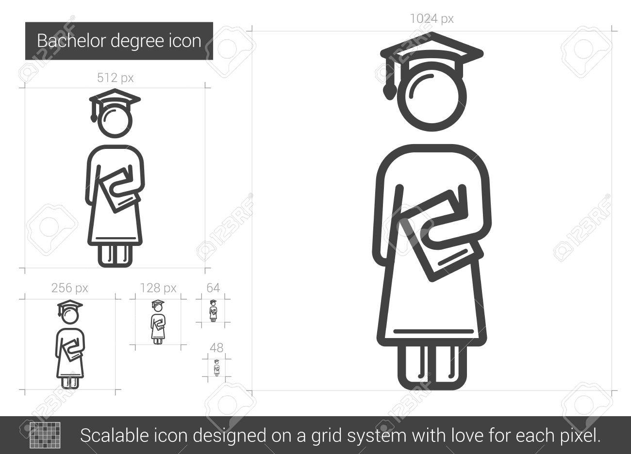 Bachelor Degree Vector Line Icon Isolated On White Background
