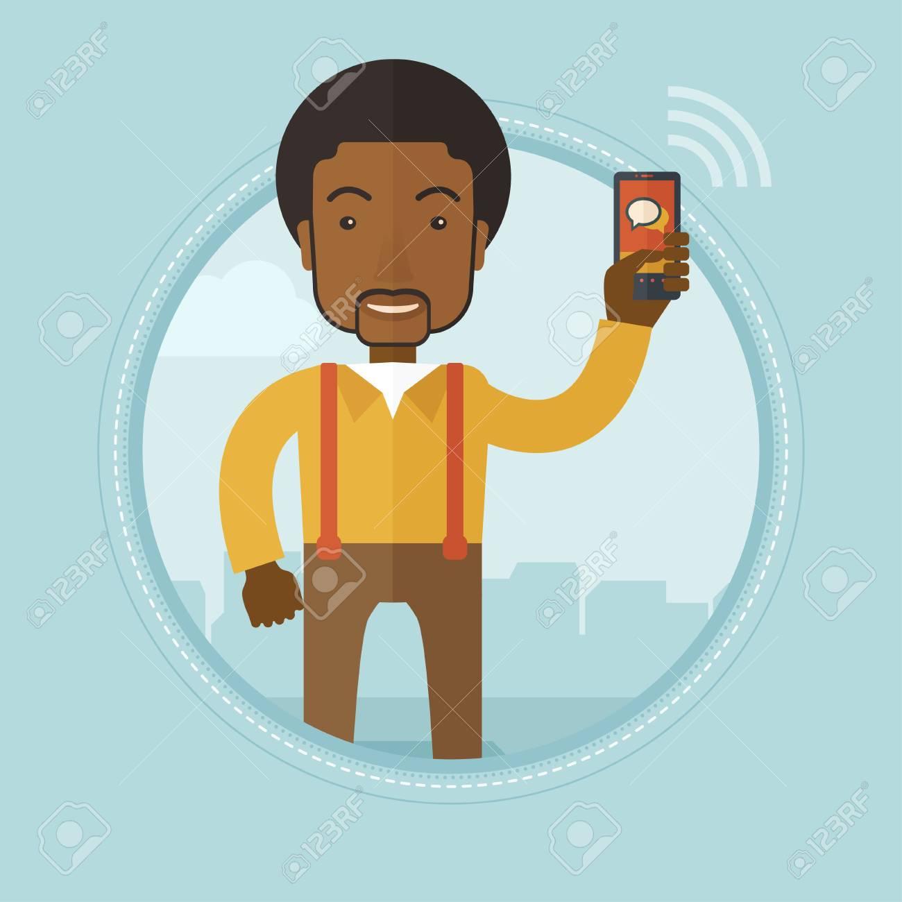 Vettoriale Un Uomo Daffari Africano Utilizzando Il Telefono