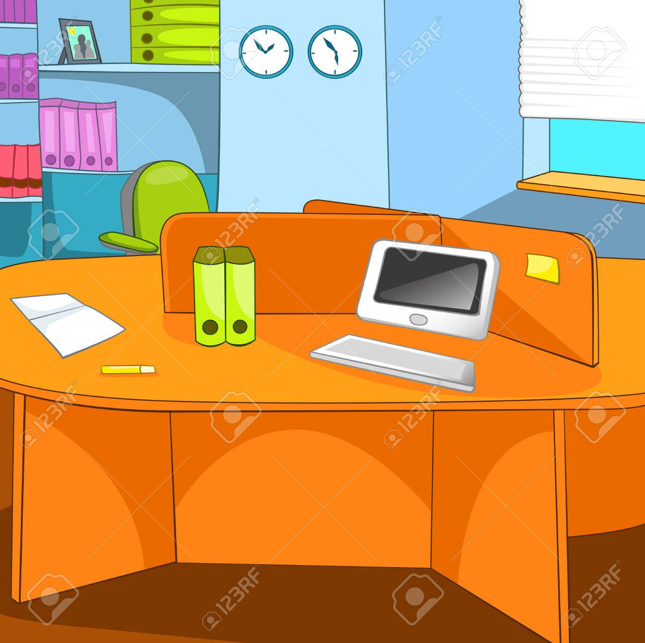 Hand Drawn Cartoon Of Business Office Place Colourful Cartoon