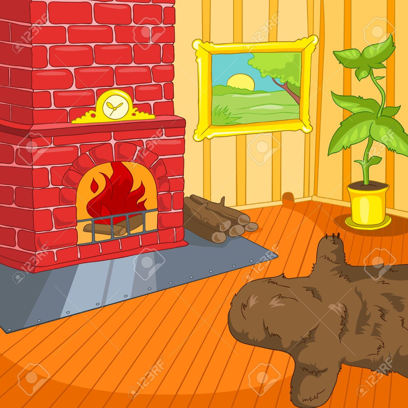 Hand Drawn Cartoon Of Living Room Colourful Background Retro
