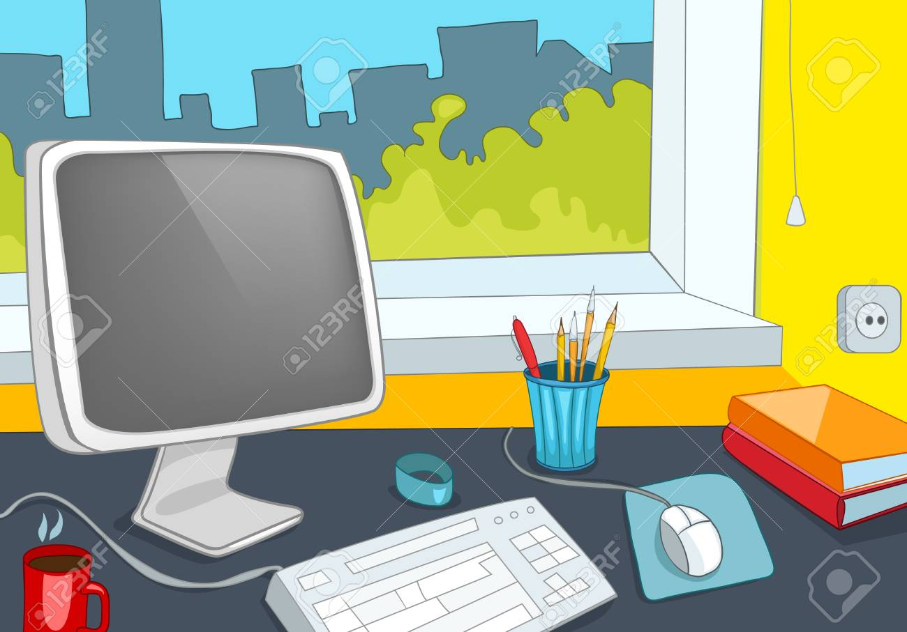 Hand Drawn Cartoon Of Modern Office Interior Colourful Cartoon