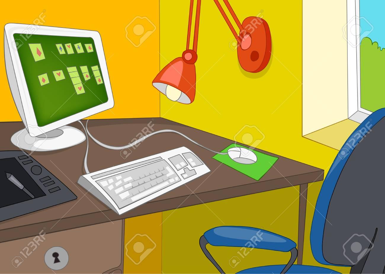 Caricature dessinée à la main de l intérieur de bureau moderne