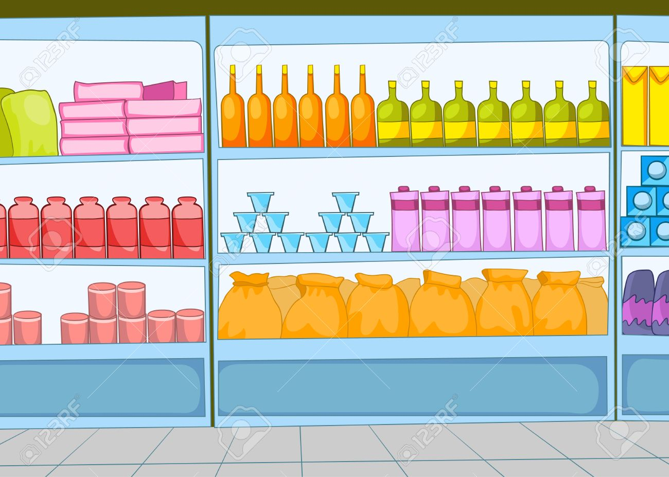 Hand Drawn Cartoon Of Supermarket Interior Colourful Cartoon Stock Photo Picture And Royalty Free Image Image 65118808