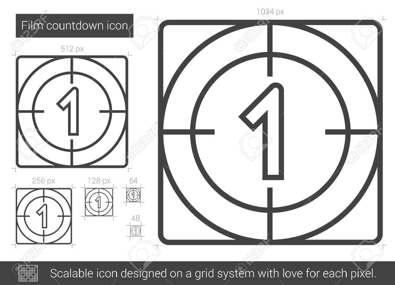 Compte Rebours Film Icne De Ligne Vecteur Isol Sur Fond Blanc Countdown La Pour Infographie Site Web Ou Application