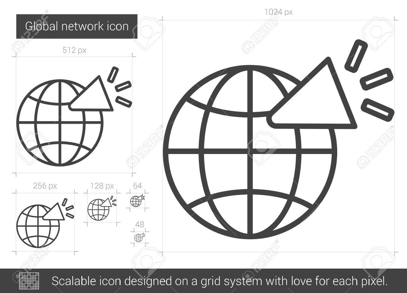 globales netzwerk vektor linie-symbol auf weißem hintergrund