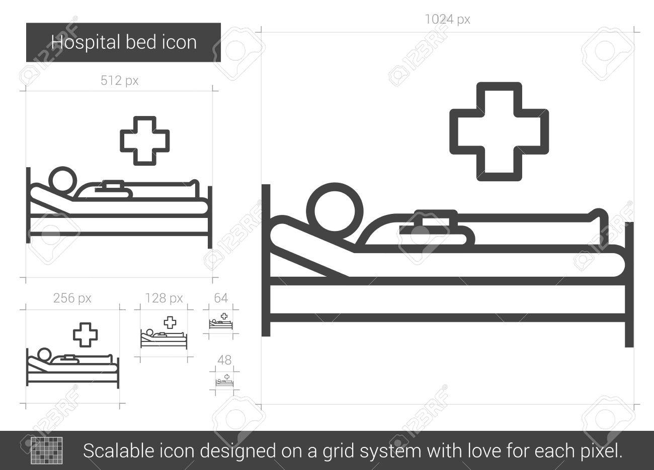 hospital bed vector line icon isolated on white background  hospital bed  line icon for infographic
