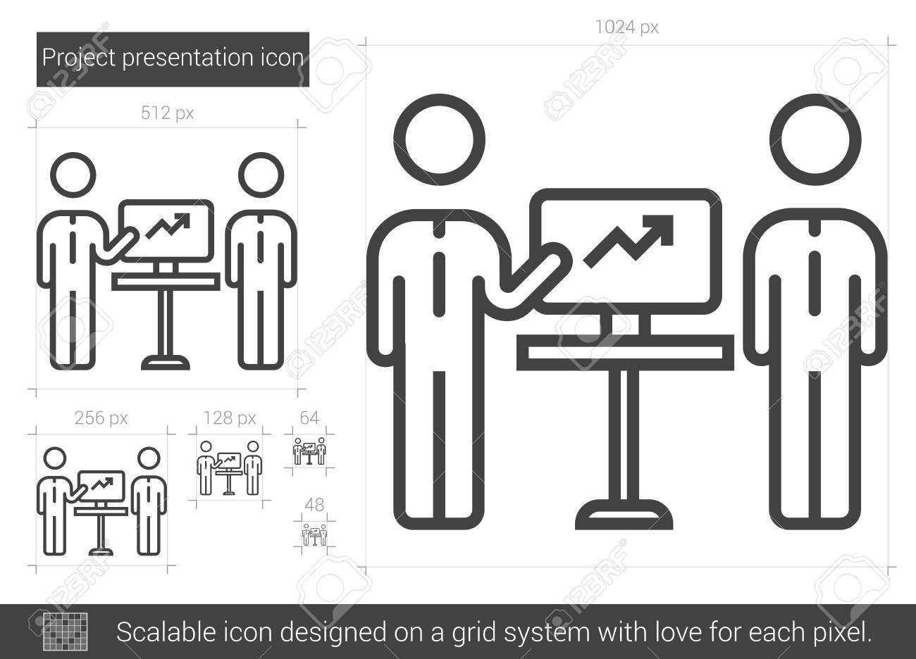 Projektpräsentation Vektor Linie-Symbol Auf Weißem Hintergrund ...