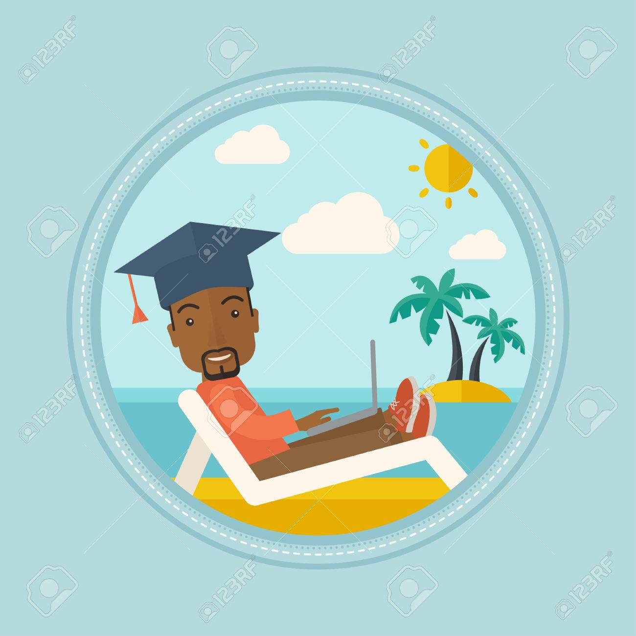 Diplômé African Allongé Dans Une Chaise Longue Sur La Plage. Diplômé on chaise recliner chair, chaise sofa sleeper, chaise furniture,