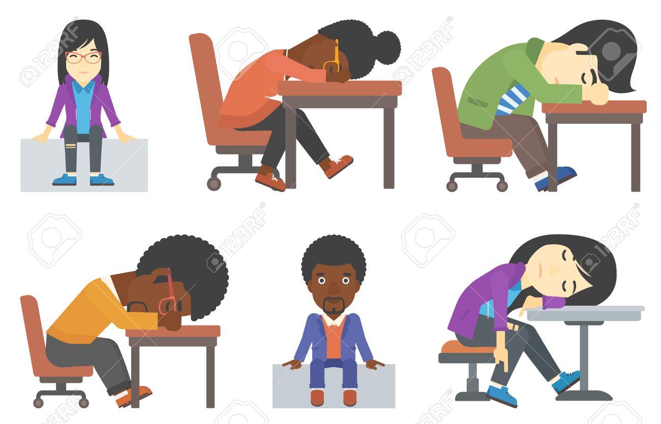 怠惰な従業員は作業日の間に眠りに落ちたナマケモノ会社員テーブルで