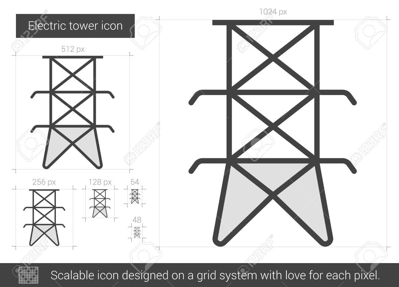 Elektrische Turm Vektor Linie-Symbol Auf Weißem Hintergrund ...