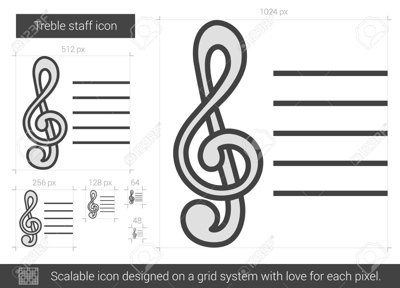 treble staff vector line icon isolated on white background treble staff line icon for infographic