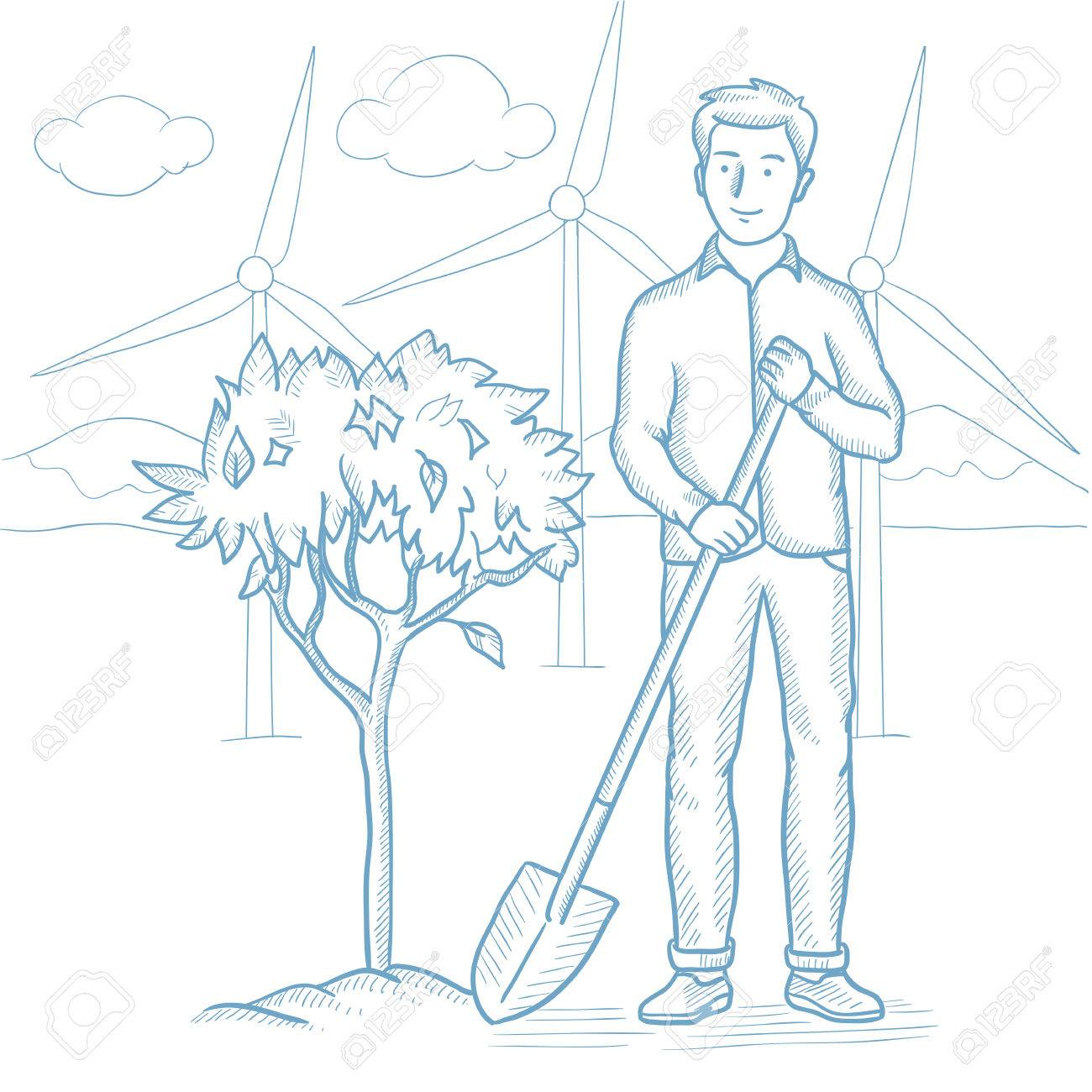Caucasian Man Plants A Tree Young Man Standing With Shovel Near