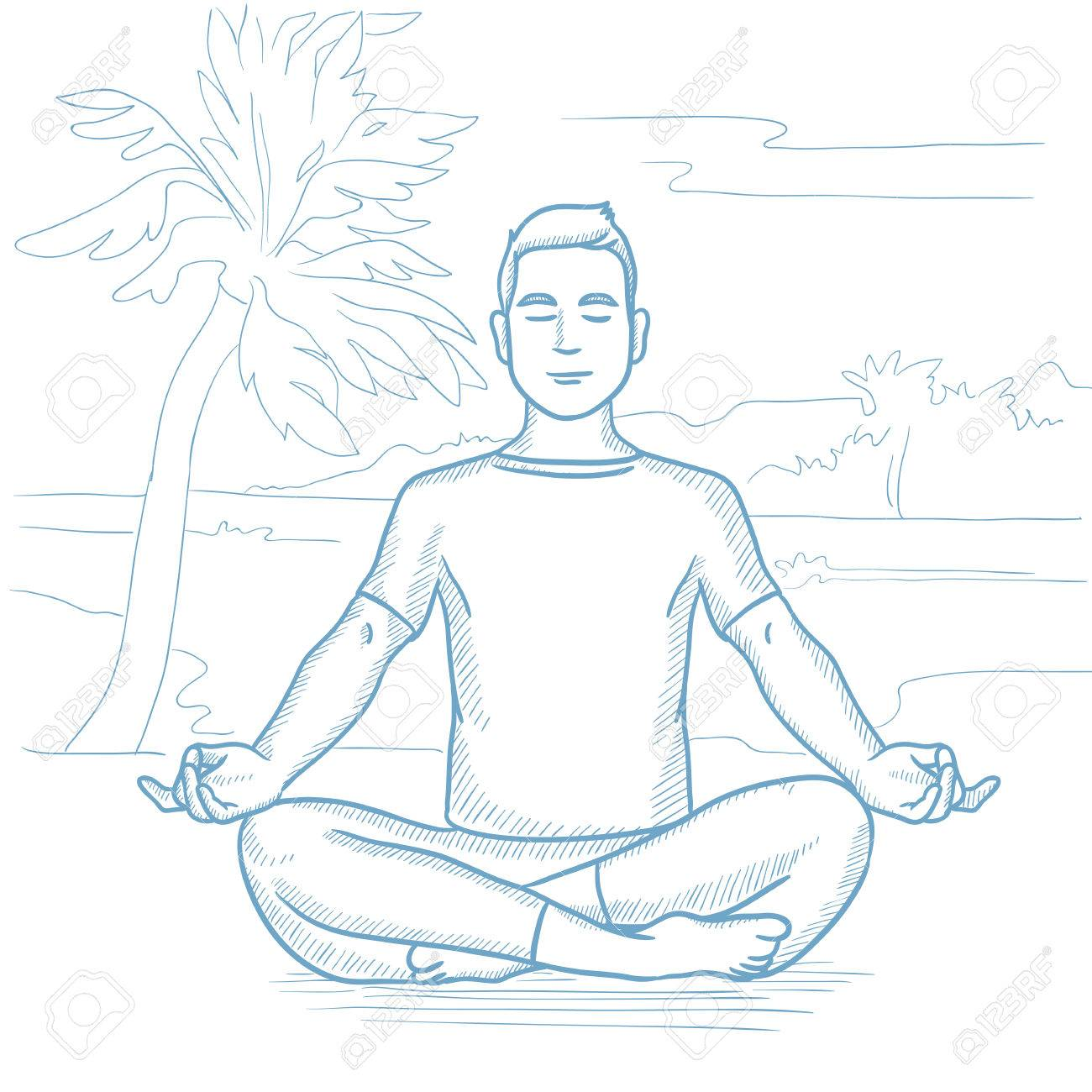 Caucasian Man Meditating In Yoga Lotus Pose On The Beach Relaxing